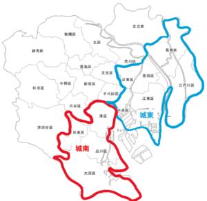 城南地区と城東地区の場所(地図)