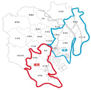 城西地区と城東地区の場所(地図)