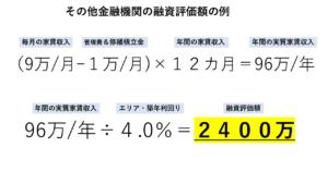 その他金融機関の融資評価額の例